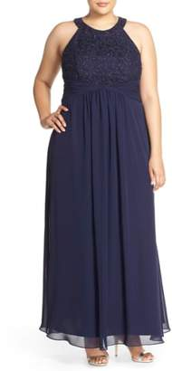 Eliza J Halter Style Lace & Chiffon Gown