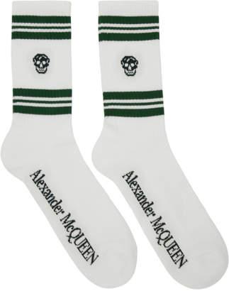 Alexander McQueen White and Green Stripe Skull Sport Socks