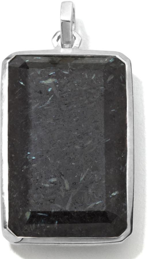 Ippolita Men's Sterling Silver Large Rectangular Pendant in Nuummite/Lapis