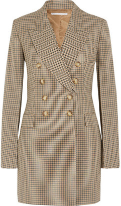 Double-breasted Checked Wool Blazer - Beige