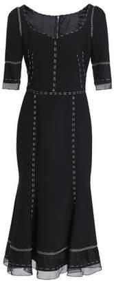 Dolce & Gabbana Organza-Paneled Wool-Blend Midi Dress