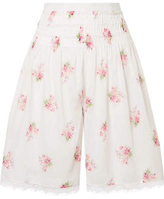 Scarlett Lace-trimmed Shirred Floral-print Cotton-voile Shorts - White