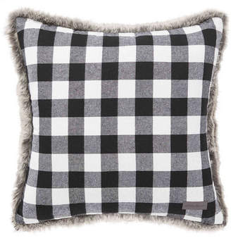 Eddie Bauer Cabin Plaid Faux Fur Black Square Pillow Bedding