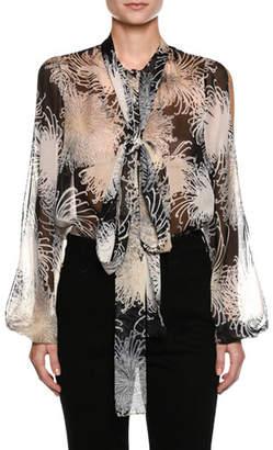 No.21 No. 21 Tie-Neck Floral-Print Silk Blouse
