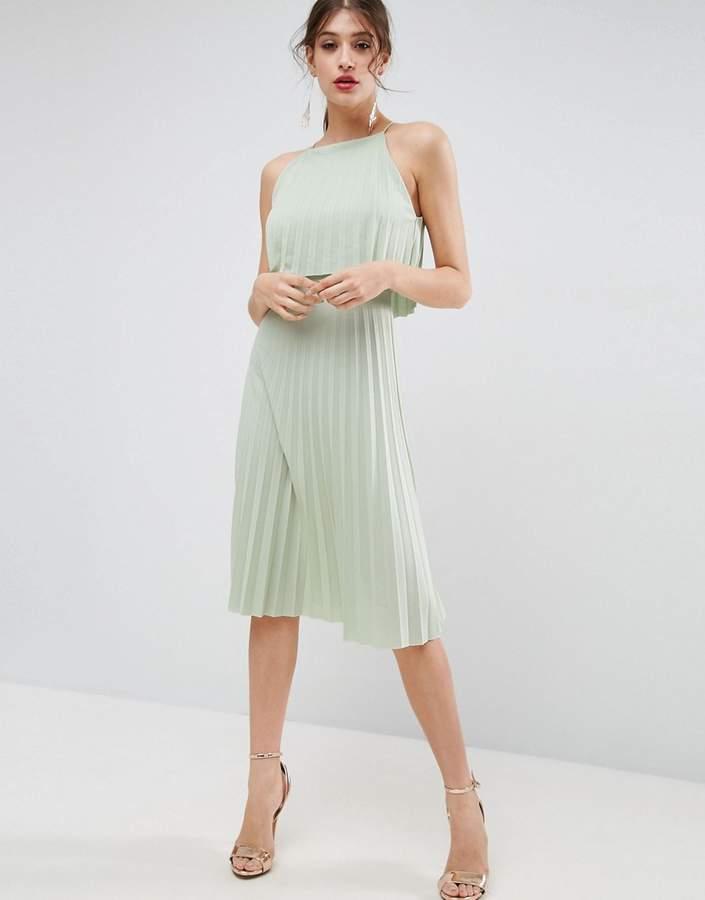 AsosASOS Pleated Crop Midi Dress