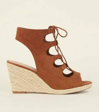 New Look Tan Suedette Ghillie Lace Up Espadrille Wedges