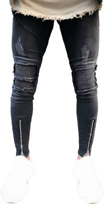 Sarriben Men's Distressed Skinny Slim Fit Zipper Jeans with Rips and Biker Details