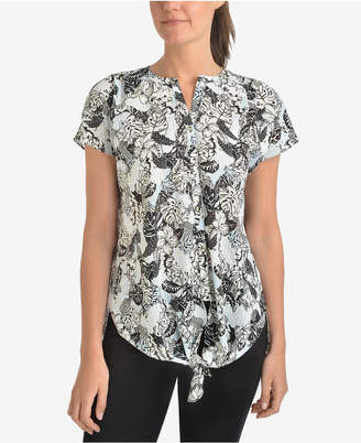 NY Collection Printed Tie-Hem Blouse