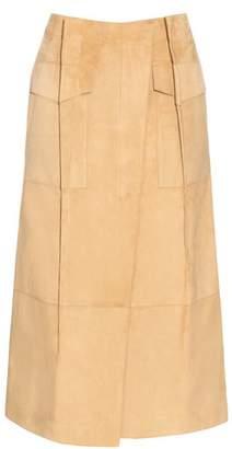 Loewe Pleat Front Suede Skirt - Womens - Beige