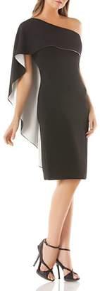 Carmen Marc Valvo One-Shoulder Overlay Dress