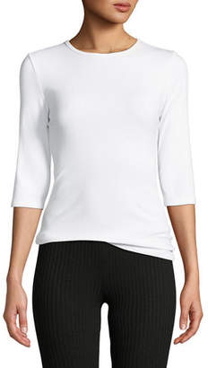 Vince Elbow-Sleeve Jersey Crewneck Top