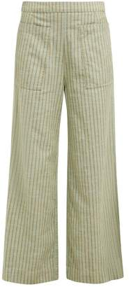 Ace&Jig Laure Striped Wide Leg Cotton Trousers - Womens - Green Multi
