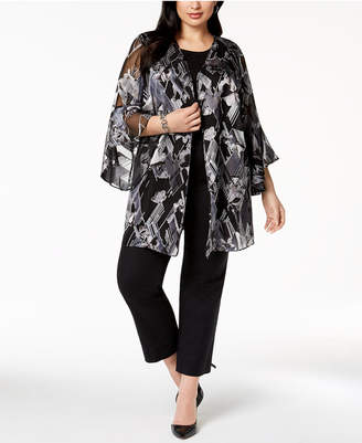 Alfani Plus Size Burnout-Print Kimono, Created for Macy's