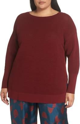 Lafayette 148 New York Bateau Neck Matte Crepe Sweater