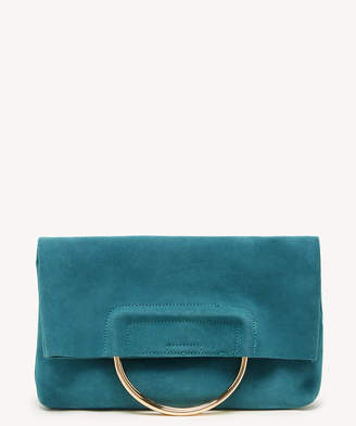 Sole Society Women's Darci Clutch Genuine Suede Foldover With Metal Detail Teal From