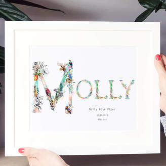 Charlotte Jones Design Personalised Pastel Floral Nature Name Print