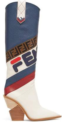 Fendi Mania Leather Knee High Boots - Womens - Navy Multi