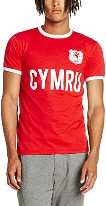 Toffs Retro Football Men's Wales Short Sleeve Ringer T-Shirt