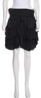 L'Agence Ruffled Silk Skirt