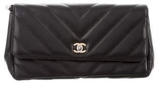 Chanel Chevron Flap Wristlet