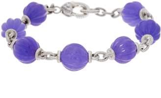 "Judith Ripka Sterling Fluted Jade Bead 8"" Bracelet"