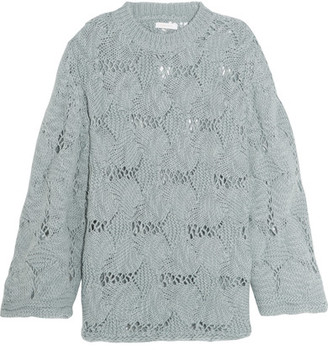 See by Chloé - Open-knit Wool-blend Sweater - Gray $395 thestylecure.com