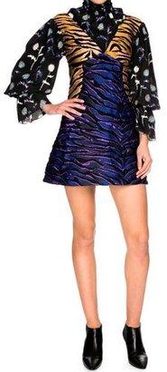 Kenzo Tiger Stripe Structured A-Line Mini Dress, Midnight Blue $1,230 thestylecure.com