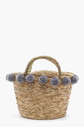 boohoo Kerry Medium Pom Pom Basket Bag