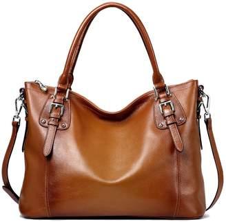 S-ZONE Women's Vintage Genuine Leather Tote Large Shoulder Bag Handbag Cross Body Bag
