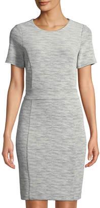 Neiman Marcus Short-Sleeve Textured Knit Knee-Length Dress