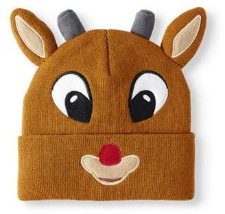 Juniors' Knitted Rudolph the Red-Nosed Reindeer Cuffed Beanie with 3D Ears