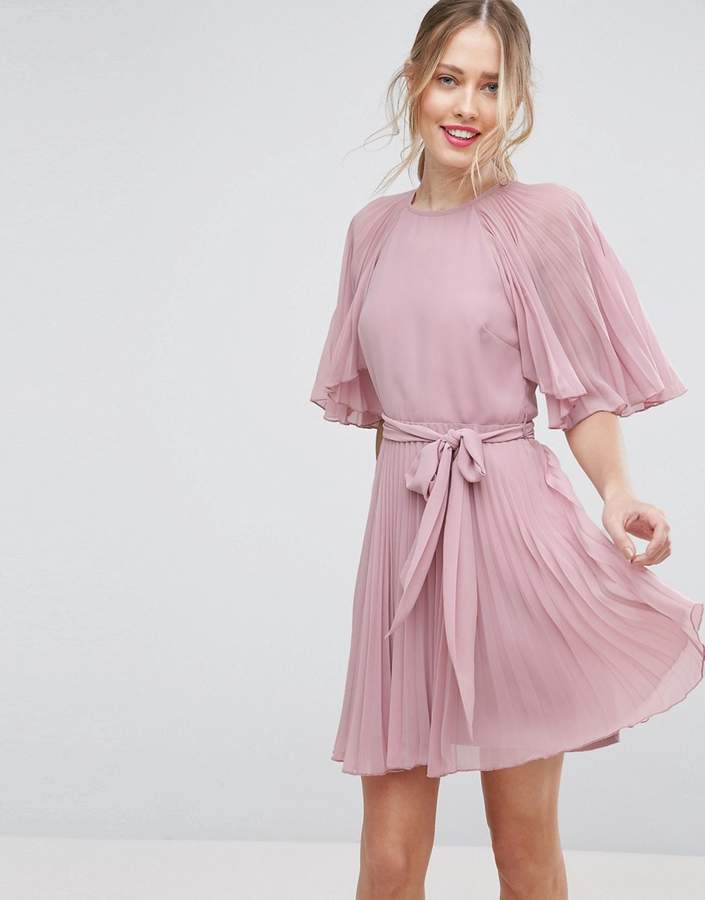 Asos ASOS Flutter Sleeve Pleated Mini Dress