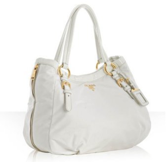 Prada white nylon patent trim medium satchel