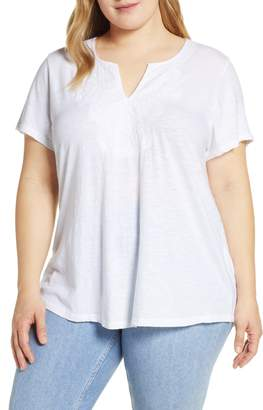 Lucky Brand Embroidered Notch Neck Tee