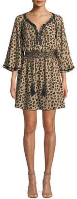 Mae Kobi Halperin Animal-Print Silk Dress