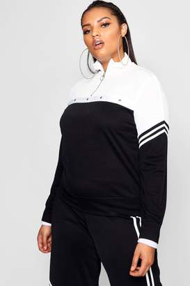 boohoo Plus Beth Tonal Popper Stripe Track Top