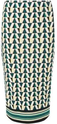 Dorothy Perkins Womens Green and Ivory Striped Hem Pencil Skirt