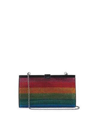 Christian Louboutin Palmette Small Rainbow Crystal Suede Clutch Bag