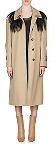 Maison Margiela Women's Fur-Yoke Trench Coat - Beige, Tan