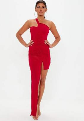 Missguided Red Slinky Ruched Side Maxi