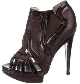 Alberta Ferretti Leather Peep-Toe Pumps