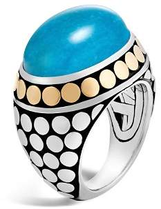 John Hardy Sterling Silver and 18K Bonded Gold Dot Dome Ring with Turquoise