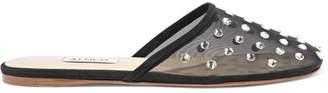 ATTICO Gina Crystal-embellished Mesh Slippers - Black