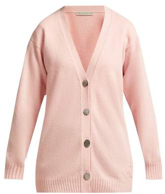 Queene And Belle - Mclaren Crown Embroidered Wool Cardigan - Womens - Light Pink