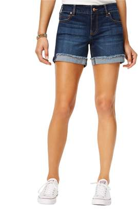"Celebrity Pink Jeans Women's Mid Rise 5"" Fray Flip Cuff Short"