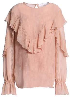 See by Chloe Ruffle-Trimmed Cotton And Silk-Blend Crepe Blouse