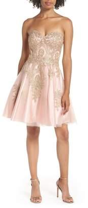 Blondie Nites Strapless Applique Party Dress