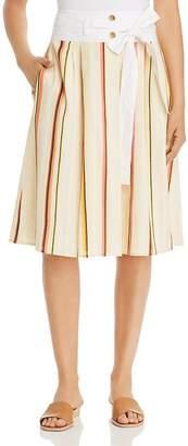 Tory Burch Striped Drop-Waist Skirt