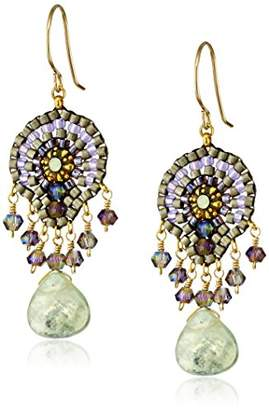 Miguel Ases Swarovski and Gold Beaded Dangle Earrings