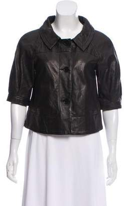 Theory Leather Crop Jacket